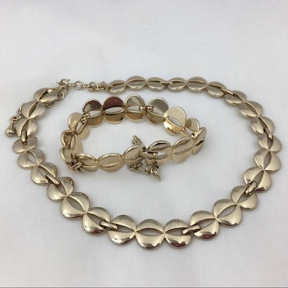 Vintage Jewelry - Vintage Monet Modernist Necklace & Bracelet Set